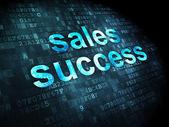 Pojęcie reklamy: sukces sprzedażowy na tle cyfrowy — Zdjęcie stockowe