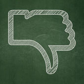 Social network concept: Thumb Down on chalkboard background — 图库照片