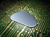 Cloud netwerken concept: Cloud op circuit bord achtergrond — Stockfoto