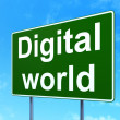 Data concept: Digital World on road sign background — Stock Photo