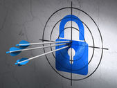 Information concept: arrows in Closed Padlock target on wall background — Stockfoto