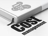 财务理念: 本书计算器,成本管理在白色背景上 — 图库照片