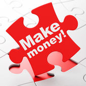 Finance concept: Make Money! on puzzle background — Stock Photo