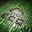 Cloud networking concept: Cloud Network on circuit board background — Stock Photo #40502961