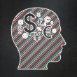 Stock fotografie: Finance concept: Head With Finance Symbol on chalkboard background