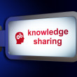 Stock fotografie: Education concept: Knowledge Sharing and Head With Gears on billboard background