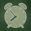 Timeline concept: Alarm Clock on chalkboard background — Stock Photo #40584903
