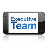 Finance concept: Executive Team on smartphone — Stok fotoğraf