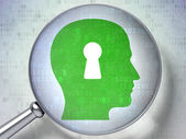 Information concept: Head With Keyhole with optical glass on digital background — Stock Photo