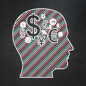Finanční koncept: vedoucí financí symbolem na tabuli pozadí — Stock fotografie
