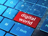 Data concept: Digital World on computer keyboard background — Stock Photo