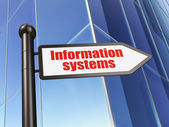 Information concept: sign Information Systems on Building background — Stockfoto