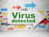 Protection concept: arrow with Virus Detected on grunge wall background — Stock Photo