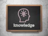 Education concept: Head With Lightbulb and Knowledge on chalkboard background — Stockfoto