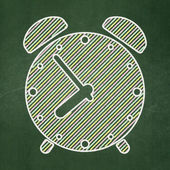 Timeline concept: Alarm Clock on chalkboard background — Stock Photo