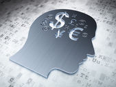 Education concept: Silver Head With Finance Symbol on digital background — Stock Photo