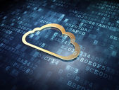 Cloud computing concept: Golden Cloud on digital background — Stock Photo