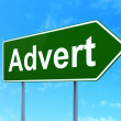 Stock Photo: Marketing concept: Advert on road sign background