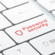 Stock Photo: Safety concept: Contoured Shield and Password Security on computer keyboard background