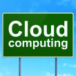 Cloud networking concept: Cloud Computing on road sign background — 图库照片