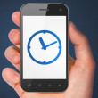 Timeline concept: Clock on smartphone — Stock Photo #40659045