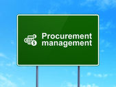 Business concept: Procurement Management and Calculator on road sign background — Stock Photo