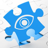 Security concept: Eye on puzzle background — Stock Photo