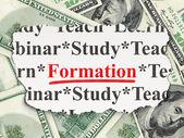Education concept: Formation on Money background — Stok fotoğraf