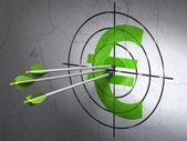 Valuta koncept: pilar i euro mål på väggen bakgrund — Stockfoto