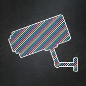 Safety concept: Cctv Camera on chalkboard background — Stock Photo