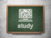 Education concept: Computer Pc and Study on chalkboard background — Stock Photo