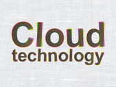 Cloud networking concept: Cloud Technology on fabric texture background — Stockfoto