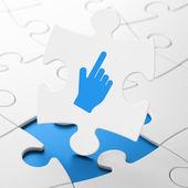 Web development concept: Mouse Cursor on puzzle background — Stock Photo