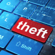 Security concept: Theft on computer keyboard background — Stock Photo
