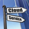 Cloud networking concept: sign Cloud Service on Building background — Stock Photo #40745249