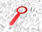 Web デザイン コンセプト: アルファベットのバック グラウンドで検索 — ストック写真