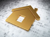 Finance concept: Golden Home on digital background — Stock Photo