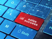 Advertising concept: Growth Graph and Sales Success on computer keyboard background — Stock Photo