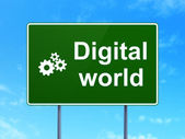 Data concept: Digital World and Gears on road sign background — Stock Photo