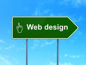 Web development concept: Web Design and Mouse Cursor on road sign background — Stock Photo
