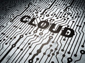Cloud computing concept: circuit board with Cloud — Stock Photo