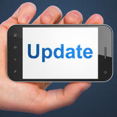 SEO web development concept: Update on smartphone — Stock Photo