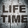 Stock Photo: Time concept: circuit board with Life Time
