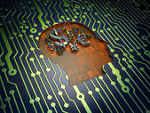 Education concept: Head With Finance Symbol on circuit board background — Stock Photo