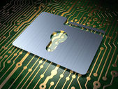 Business concept: Folder With Keyhole on circuit board background — Stock Photo