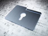Business concept: Silver Folder With Keyhole on digital background — Stock Photo