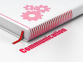 Advertising concept: book Gears, Communication on white background — Stock Photo