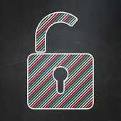 Data concept: Opened Padlock on chalkboard background — Stock Photo