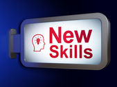 Education concept: New Skills and Head With Lightbulb on billboard background — Stock Photo
