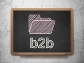 Business concept: Folder and B2b on chalkboard background — Stock Photo